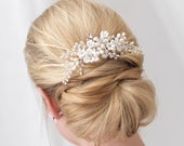 Floral Bridal Hair Comb, Flower Side Comb, Pearl Hair Comb, Crystal Hair Comb, Wedding Hair Comb, Rhinestone Hair Comb, Hair Clip TC2291