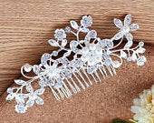 Bridal wedding haircomb, Rhinestone and pearl floral hair comb, bridal hair comb