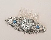 Crystal Hair Comb Bridal Headpiece Wedding Hair Comb Rhinestone Flower Hair Comb, Wedding Hair Piece, Vintage Style, Old Hollywood, Blue