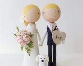 custom wedding cake topper, peg doll cake topper, clothespin doll, minimalist, classic THE SIMPLE WHITE base