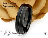 Tungsten Wedding Band Women, Tungsten Ring Women, 6mm Matte Top Grooved,Black Tungsten Carbide Ring,Tungsten Ring,Womens Promise Ring