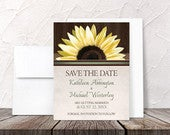 Sunflower Save the Date Cards Country Sunflower Over Wood Rustic Printed Flat Cards