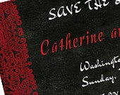 Lace Save the Date,chalkboard Save the Date,rustic Save the Date,folk art Save the Date,Hungarian Save the Date,red,burlap