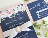 Navy Wedding Invitation Set, Floral Wedding Suite, NAV01, Navy Blue and Blush Wedding Invitation