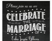 Chalkboard Vintage Wedding Invitation Template