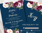 Navy Wedding Invitations, Burgundy Wedding Invitations, Invitation Printed, Floral Wedding, Boho Wedding Invitation, Burgundy, Boho