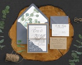 Eucalyptus Wedding Invitation, Dusty Blue Wedding Invitation, Garden Wedding Invitation, Greenery wedding, Outdoor Wedding, Lace Wedding