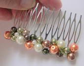 Fall Pearl Hair Comb, Olive Orange Brown and Cream Pearl Hair Pin, Fall Wedding Hair Comb for Bridesmaids, Flower Girl Mother of the Bride