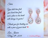 Personalized Mother of the Groom Wedding Gift Set Mother of the Bride Gift Set Mother in Law Gift Mother of the Groom Earrings Mothers Gift