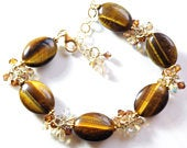 Gold Tiger Eye Bracelet, Autumn Stone Jewelry, Dressy Mother of the Bride Bracelet, Fall Fashion Chocolate Brown Wedding Gift, Ready to Ship