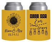Barn Wedding Can Coolers Rustic Wedding Favors Gifts Thick Foam Can Holders Wedding Party Gifts Country Sunflower Wedding 1A Best Day Ever