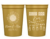 Wedding Cups Rustic Wedding Favors Gifts For Guests Personalized Wedding Cups Barn Wedding Party Favors Sunflower Wedding 1A Best Day Ever
