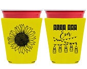 Country Wedding Cup Sleeve Rustic Wedding Favors Barn Wedding Cup Holders Boho Wedding Decor Solo Cups Coolers Sunflowers 1A Best Day Ever