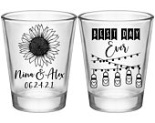 Wedding Shot Glasses Rustic Wedding Favors Personalized Shot Glasses Gifts Boho Wedding Decor Country Sunflower Wedding 1A Best Day Ever