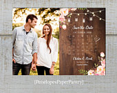 Rustic Summer Wedding Save The Date Photo Card,Calendar,Pink Roses,Fairy Lights,Barn Wood,Personalize,Printed Cards