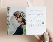 Calendar Save the Date Template Editable invite Simple and Modern save our date invitation Templett Calligraphy DIY instant download 10