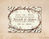Tree and Branches Wedding Save the Date Design 4x5 Postcard Rustic Nature Woodland Twigs Vintage Brown Tan Sepia Ivory Cream