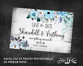 Rustic Save the Date Postcard Printed or Digital File Aqua Blue Floral Save the Date Postcard Winter Save the Date Postcard