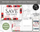 Red Poppy Save The Date Postcard Printable Wedding Template Instant Download Editable Wedding Announcement Spring Wedding