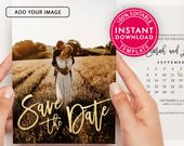 Save The Date Template With Photo, Save The Date Cards, Save The Dates, Save The Date Postcard, Wedding Invitation, Digital Instant Download