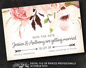 Rustic Save the Date Postcard Printed or Digital File Blush Pink Floral Save the Date Woodland Arrow Boho Save the Date Postcard