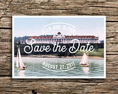 Mackinac Island Save the Date Postcard // Michigan Wedding Lake Save the Dates Grand Hotel Sailboats Cards Postcards