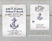 Rustic Nautical Wedding Invitation,Navy,White,Boat Anchor,White Barn Wood,East Coast,Ocean,Destination,Beach,Printed Invitation,Wedding Set