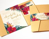 Tropical Wedding Invitation, Tropical Flowers, Destination Wedding Invitation, Beach Wedding Invitation, Hawaii Wedding, Hibiscus, SAMPLE