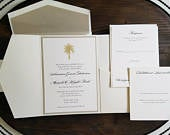 Destination Wedding Invitation / Wedding Invitation Set / Beach Wedding Invitation / Letterpress Wedding Invitation / Envelope Liners
