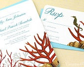 Coral Reef Beach Wedding Invitations, Aquarium Invitations, Under the Sea Theme custom designed and printed in the USA