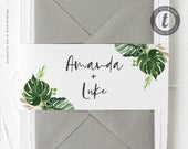 Invitation Belly Band for Tropical Destination Wedding Invitations / Beach Wedding Invitation Wrap / Printable Editable Template 017