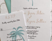 Palm tree Destination Wedding Invitations with reply nautical beach themed