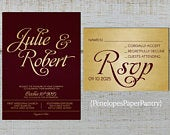 Elegant Burgundy and Gold Wedding Invitation,Burgundy,Gold,Calligraphy,Shimmery,Sophisticated,Traditional,Printed Invitation,Wedding Set