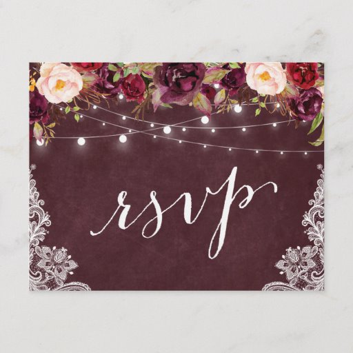 Marsala Floral String Lights Lace Wedding RSVP Invitation Postcard