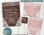 Rustic Lace Wedding invitation, ANY COLOR, Rustic Wedding invitation, rustic invitations, rustic blush wedding invitation,