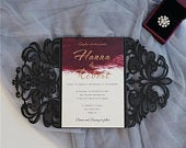Lace Laser Cut Invitation Gate Fold Laser Cut Invitation Black Lace Black Lace Gate Fold Invitation Classic Vintage