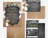Chalk Burlap and Lace Wedding Invitation, RSVP, and Details Set Templates Wedding Invitations With RSVP Included, Cards Cheap, Kit Online