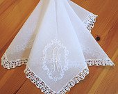 Wedding Handkerchief: Vintage Inspired Extra Sheer White Cotton Lace Handkerchief with Oval Embroidered Design 1 Initial Monogram
