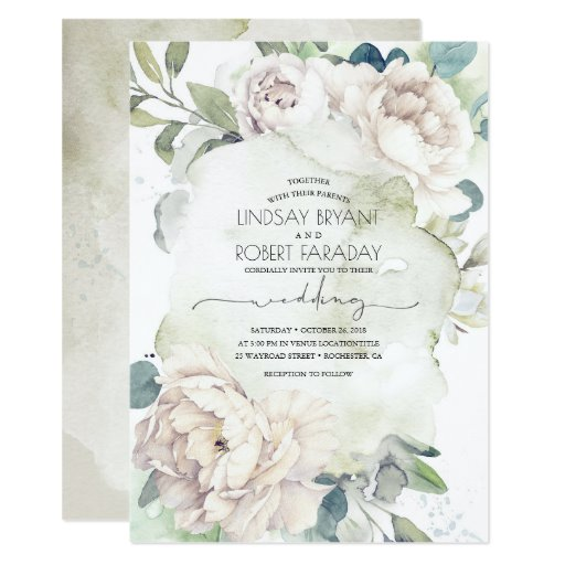 White Flowers and Greenery Elegant Vintage Wedding Invitation