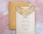 Royal Wedding Laser Cut Invitation Vintage Pearl Cut Embellishment Jewel Gold Unique