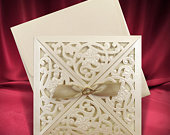 Vintage Wedding Invitation Card, Laser Cut Ivory Wedding Invitations, Classic Lasercut Invites (code 8445)