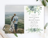 Succulent Wedding Invitation Template, Invite With Photo, Picture, Calligraphy, Fully Editable, Downloadable, Templett, Sage Blue vmt9129