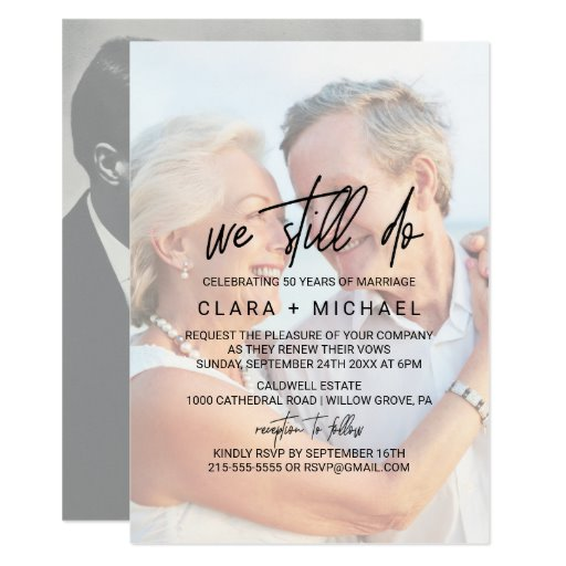 Whimsical Calligraphy Faded Photo Vow Renewal Invitation