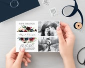 Classic Save the Date with Photo Navy, Printable Navy Save the Date Cards, Floral Wedding Invitation, Wedding Invitation Printable,