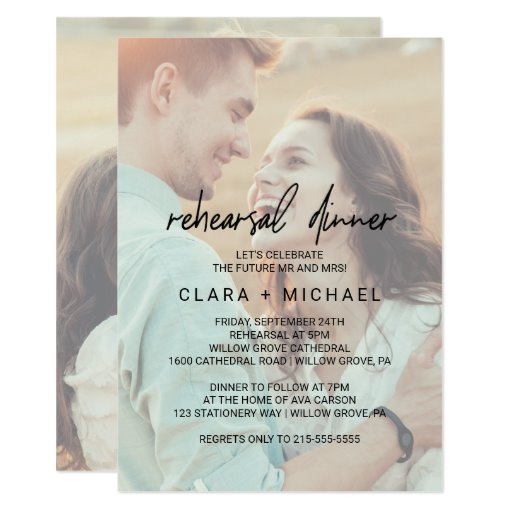 Whimsical Calligraphy Faded Photo Rehearsal Dinner Invitation