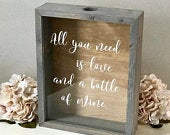 Wine Cork Holder Wood Shadow Box Display Guest Book Alternative