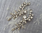 VINTAGE Rhinestone Bridal Dangle Drop Earring Up Cycled Silver Ear Climber Bride Gatsby Downtown Abbey Mother One of a Kind Wedding