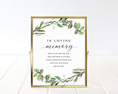 Greenery In Loving Memory Sign Template, Printable In Loving Memory Sign, Wedding Sign Memorial Table Sign TEMPLETT Fully Editable sd002ilm