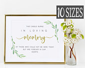 Gold In Loving Memory Sign, Greenery This Candle Burns Sign, Wedding Memorial Sign, Forever In Our Hearts Sign DIY PRINTABLE DOWNLOAD