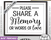 Share a Memory Sign, Share Memories, Please Write a Memory, Graduation, Birthday, Anniversary, Funeral, 8x10 Printable Instant Download